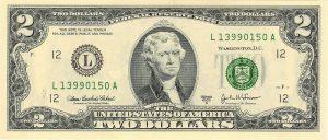 Recto billet 2 dollars américain