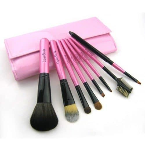 Set 8 Pinceaux Maquillage avec pochette vernis Chic Poils naturels
